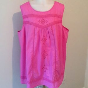 Old Navy Pink Cotton Embroidery Top SZ 3X